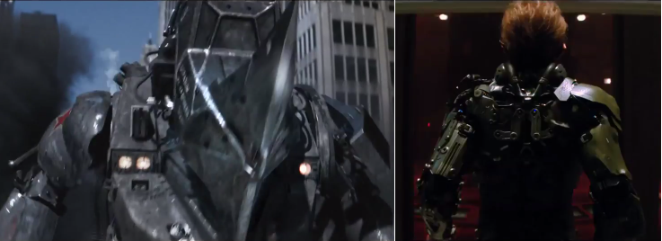 Teases of Rhino (left) and the Green Goblin.